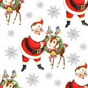 """Santa deer stars on white 3 1/2"""" Med size"""