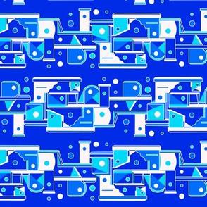 Mid century geometric birdhouses  - blue