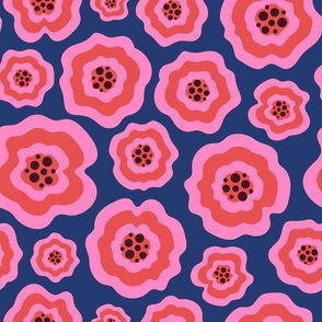 Pink liquid flowers on electric blue fabric