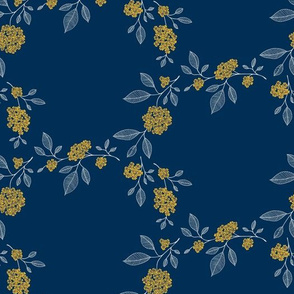 Sprigs // yellow and blue on blue