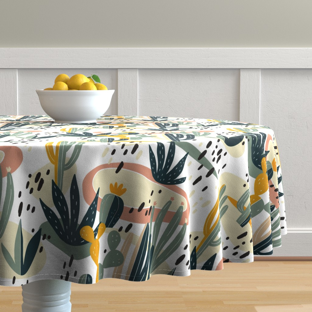 Malay Round Tablecloth featuring Desert Cactus by slava