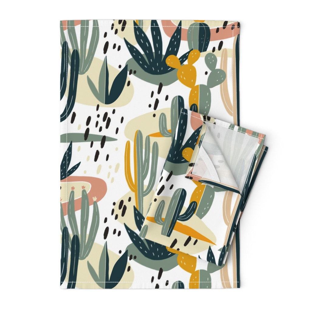 Orpington Tea Towels featuring Desert Cactus by slava