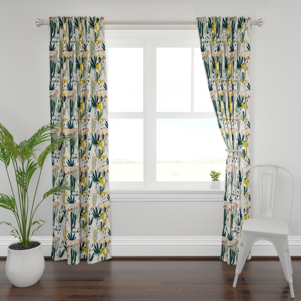 Plymouth Curtain Panel featuring Desert Cactus by slava