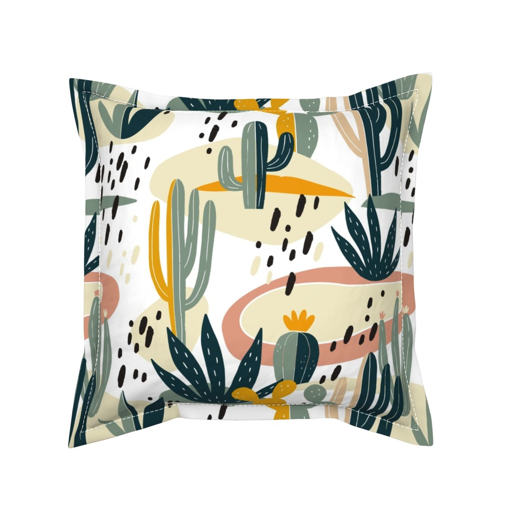 Serama Throw Pillow featuring Desert Cactus by slava