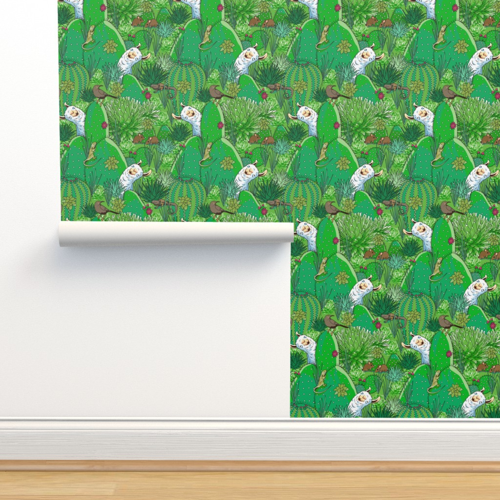 Isobar Durable Wallpaper featuring Llama Desert Cactus by mariafaithgarcia