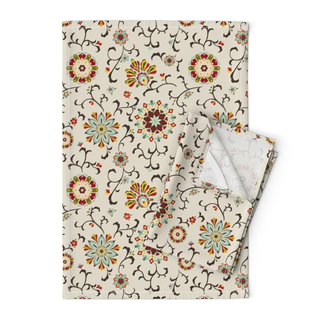 Orpington Tea Towels featuring Floral by taranealart
