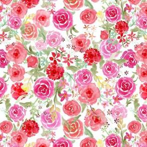 All Over Vintage Roses on white