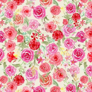 All Over Vintage Roses on cream