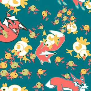 fox and chicks2 dk green