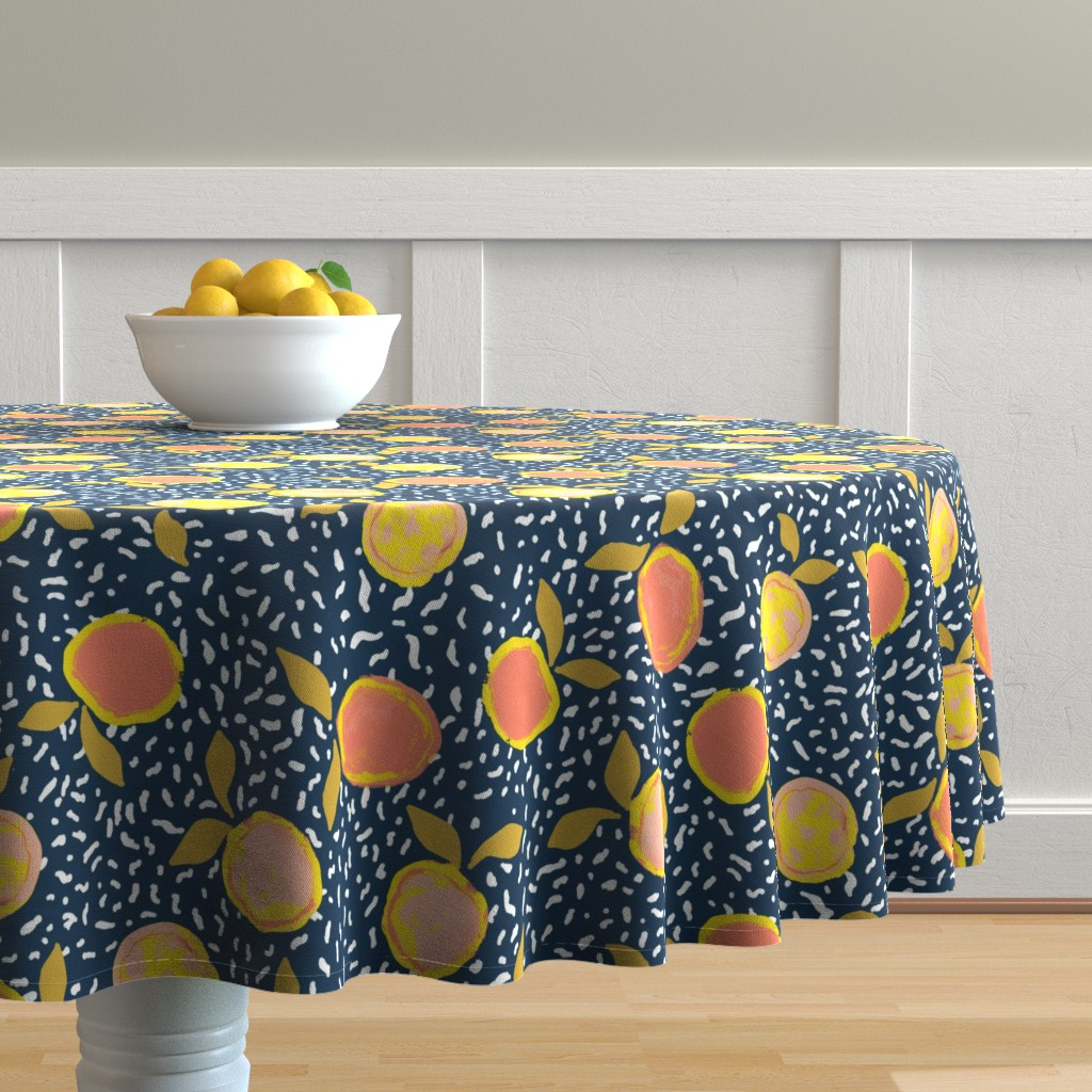 Malay Round Tablecloth featuring Orange by susanna_nousiainen