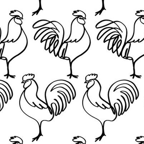 Chicken Coop! Roosters in Black and White (larger print)