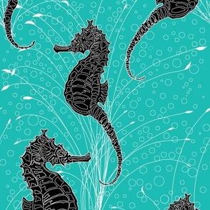 Seahorses Aqua Black