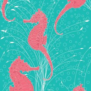 Seahorses Aqua Pink