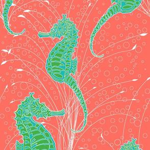 Seahorses Aqua Green Coral Line