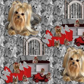 """Yorkie - Red Box Roadster abt 8"""" tall"""