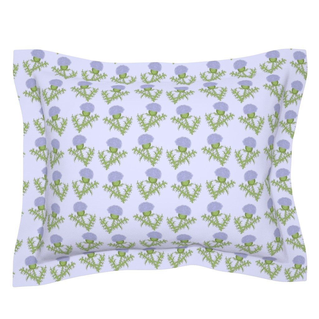 Sebright Pillow Sham featuring Prickly Scotch Thistles by karwilbedesigns
