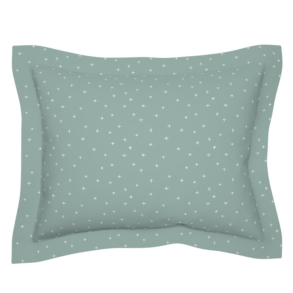 Sebright Pillow Sham featuring Bone Sketched x Swiss Cross on Green Background 96ada7 by erin__kendal