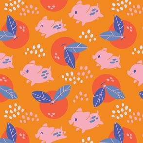 Piglets Play in a Field of Oranges