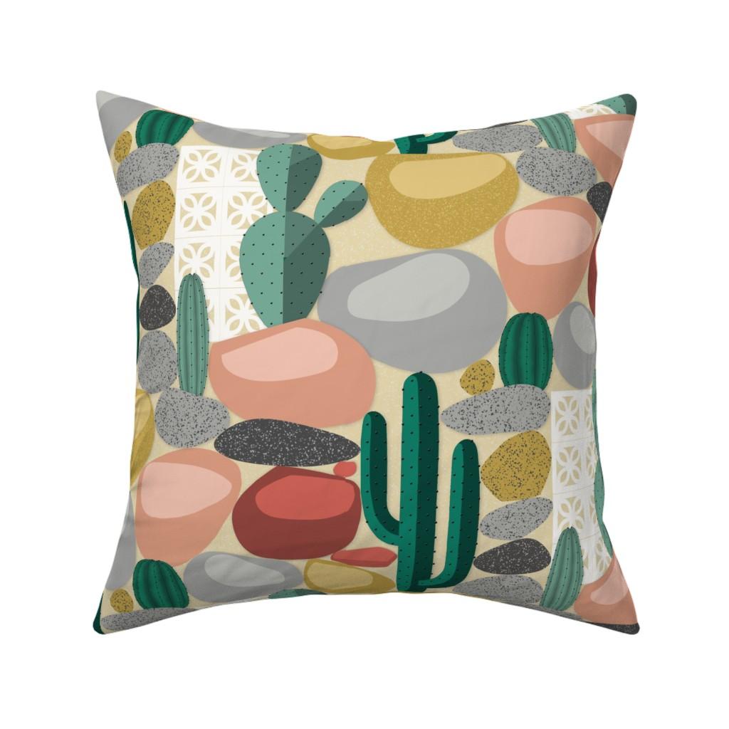 Catalan Throw Pillow featuring Modern Desert Cactus by j9design