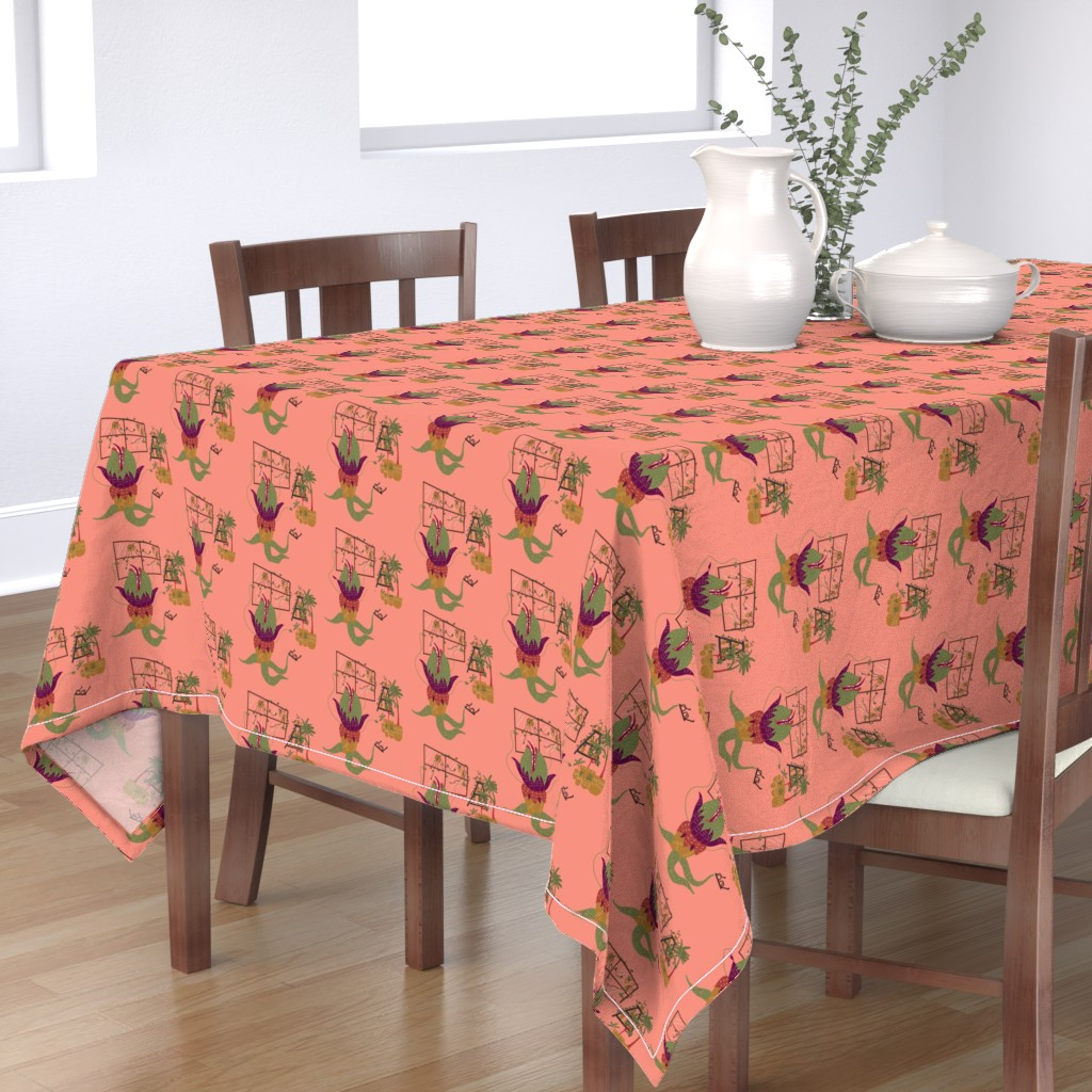 Bantam Rectangular Tablecloth featuring Mean and Green by katiemakesadress