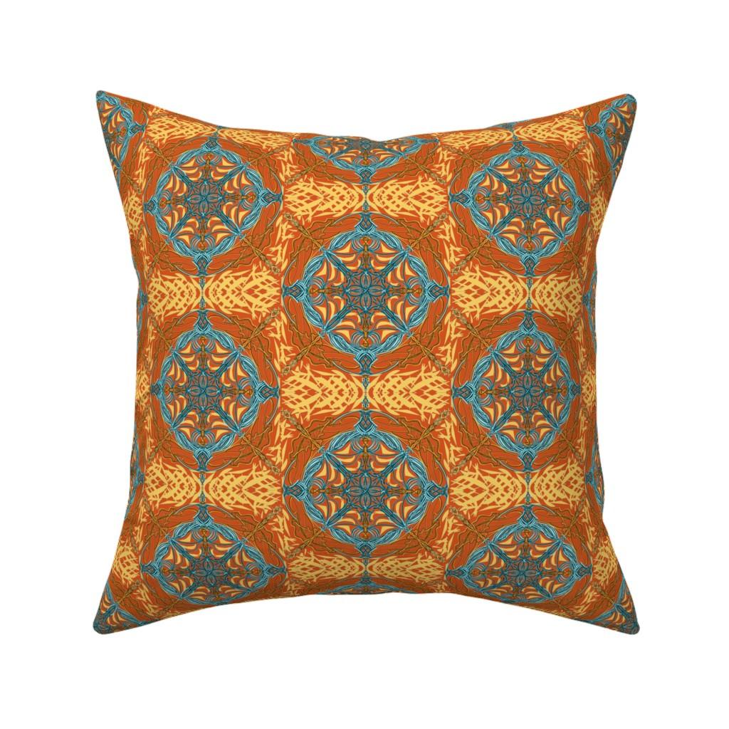 Catalan Throw Pillow featuring Desert Compass on Burnt Orange by rhondadesigns