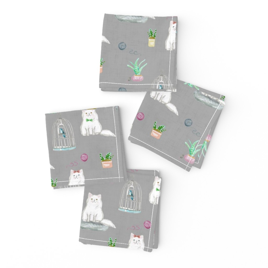 Frizzle Cocktail Napkins featuring hey cat! persian grey by amy_springer