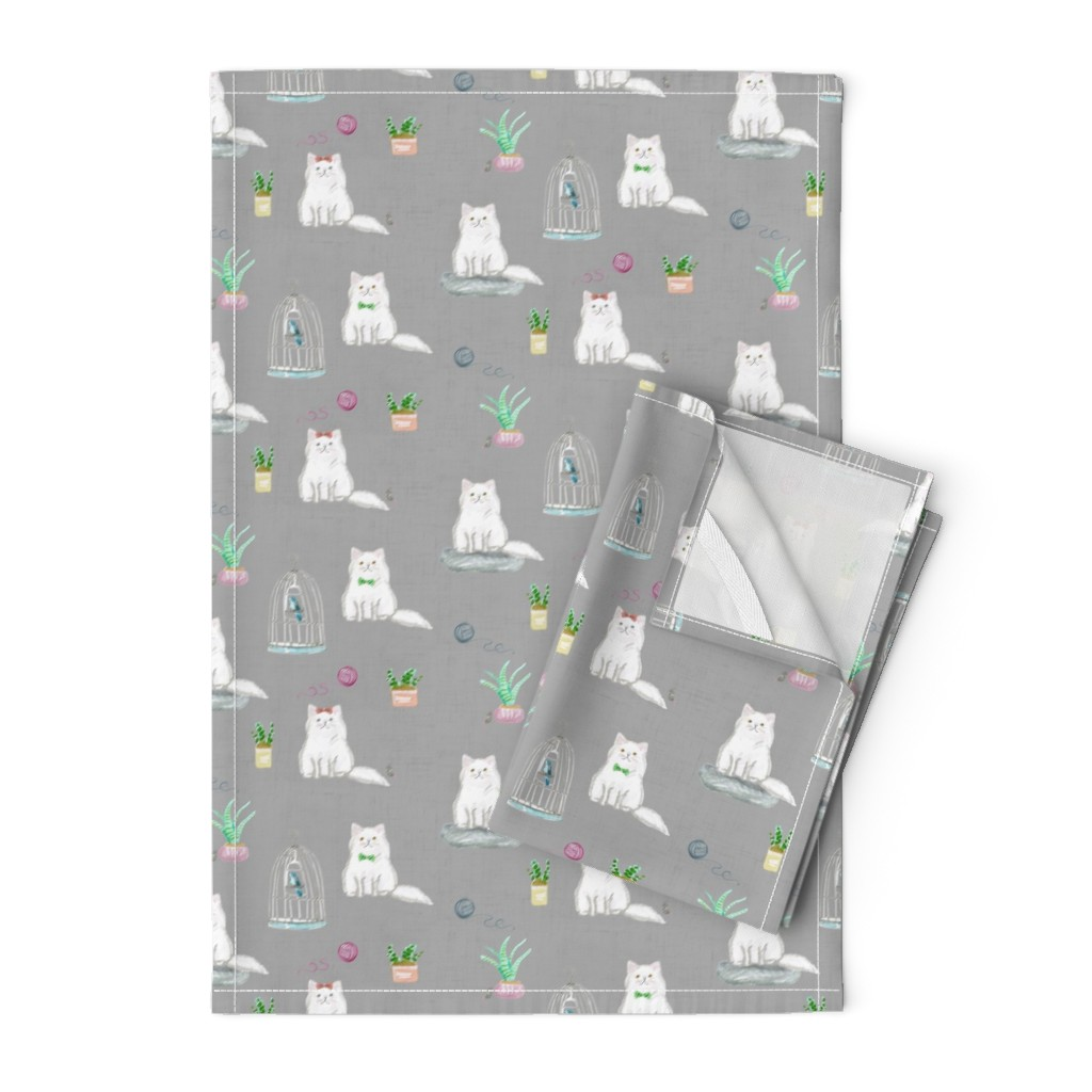 Orpington Tea Towels featuring hey cat! persian grey by amy_springer