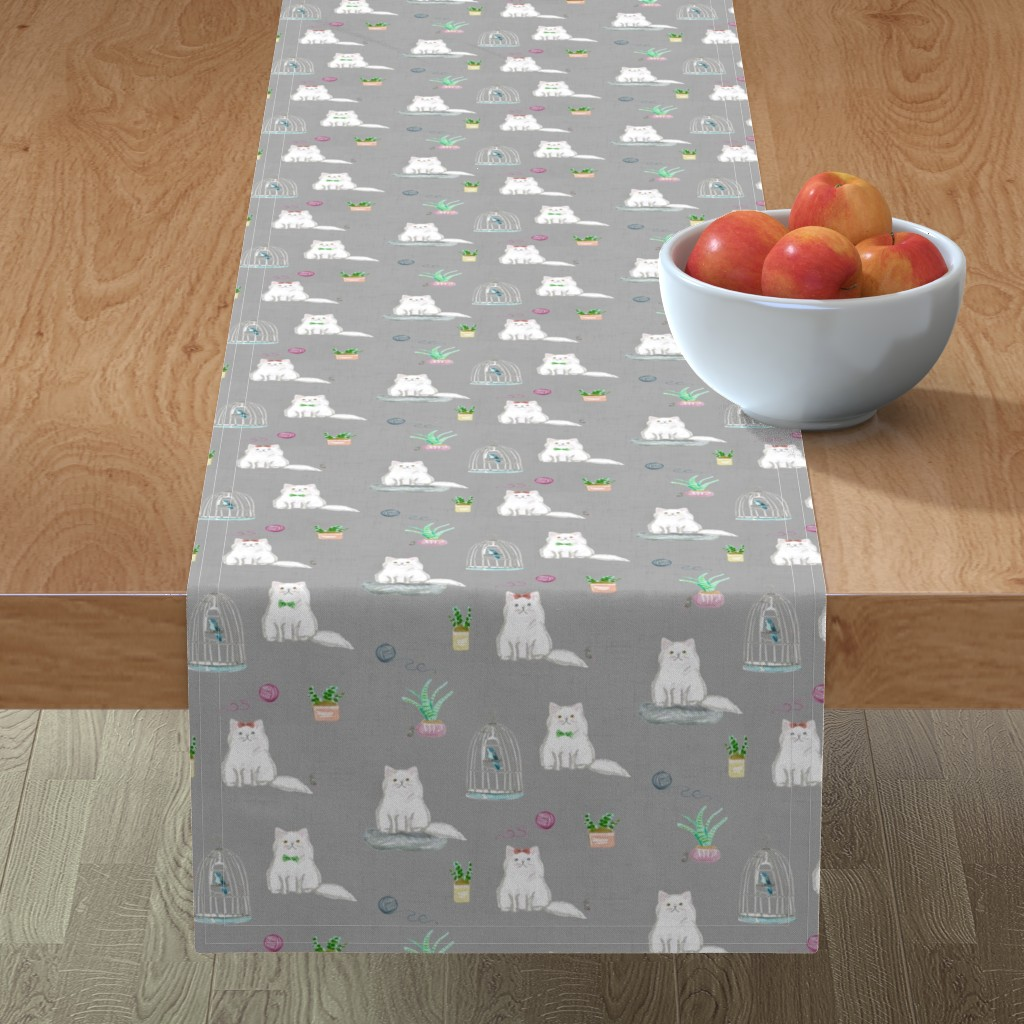 Minorca Table Runner featuring hey cat! persian grey by amy_springer