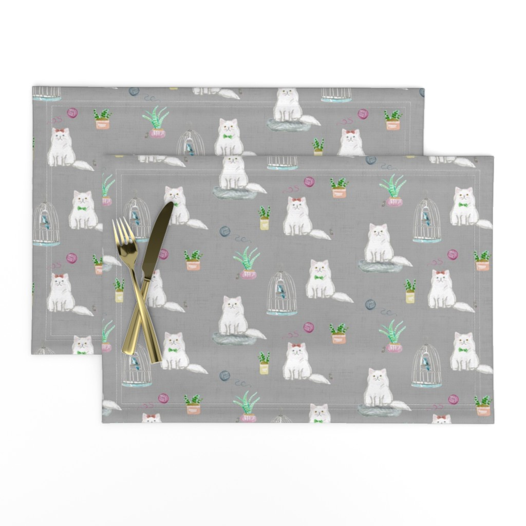 Lamona Cloth Placemats featuring hey cat! persian grey by amy_springer