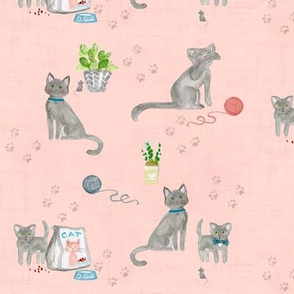 hey cat! russian blue on pale pink