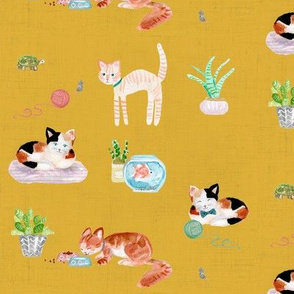 hey cat! calico on gold