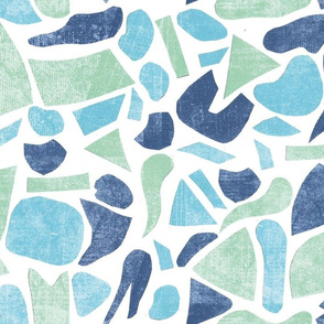 blue and green cut out pattern