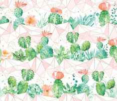 Watercolor cactus with coral geometrics