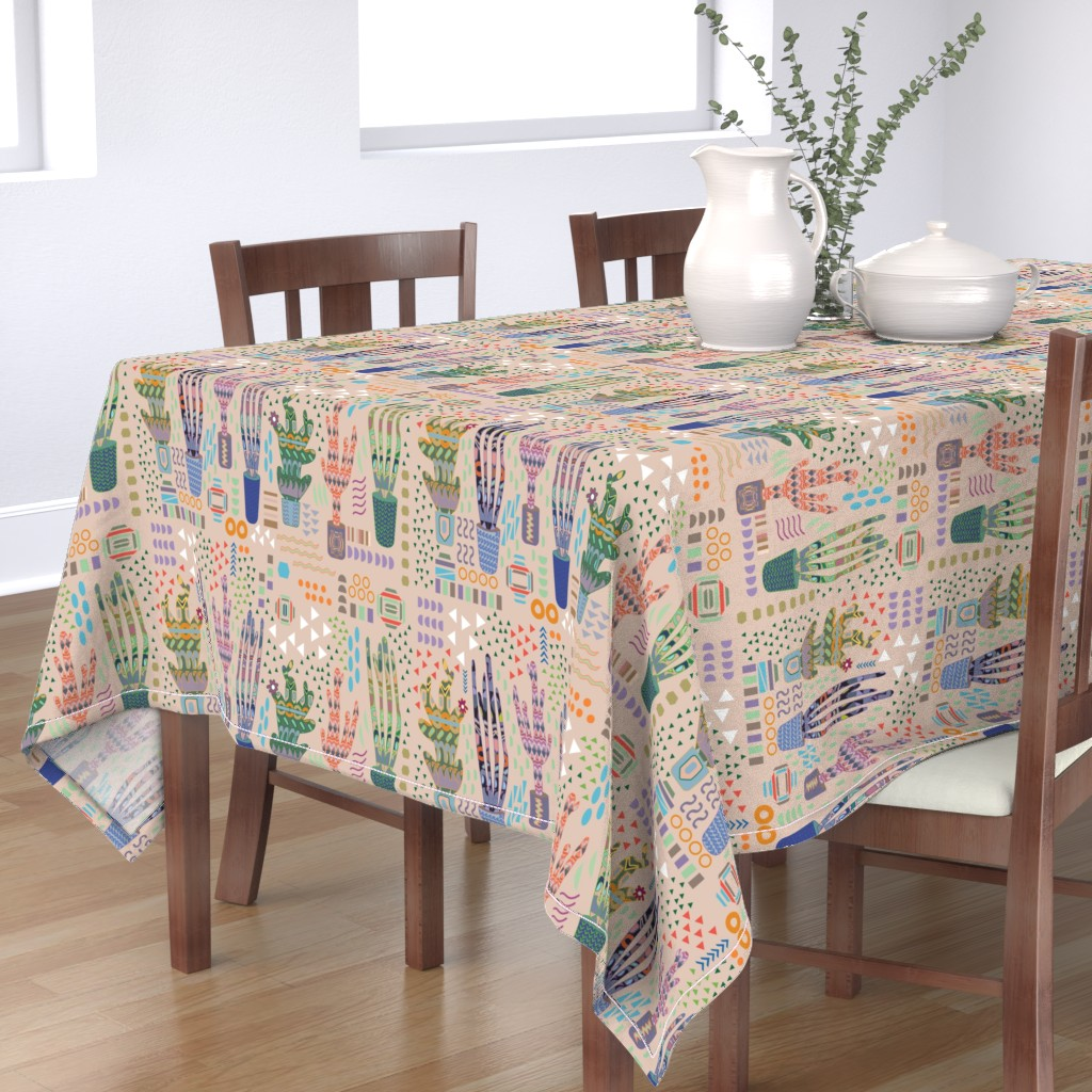 Bantam Rectangular Tablecloth featuring Keeping nature in pots by nina_leth