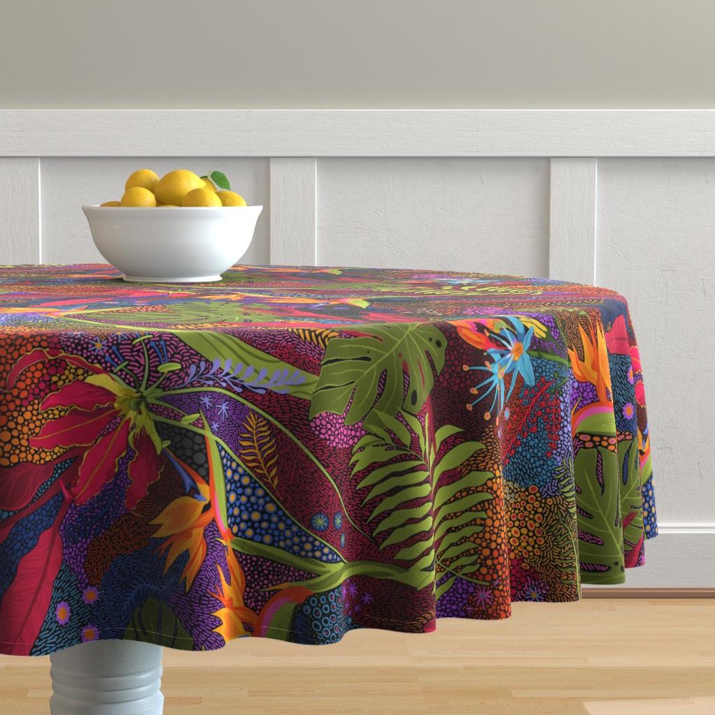 Malay Round Tablecloth featuring Tiki Tiki by reneeciufo