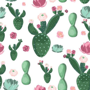 Cactus And Flowers - Green, Pink, and Blue