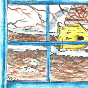 yellow birdhouse in winter (2)