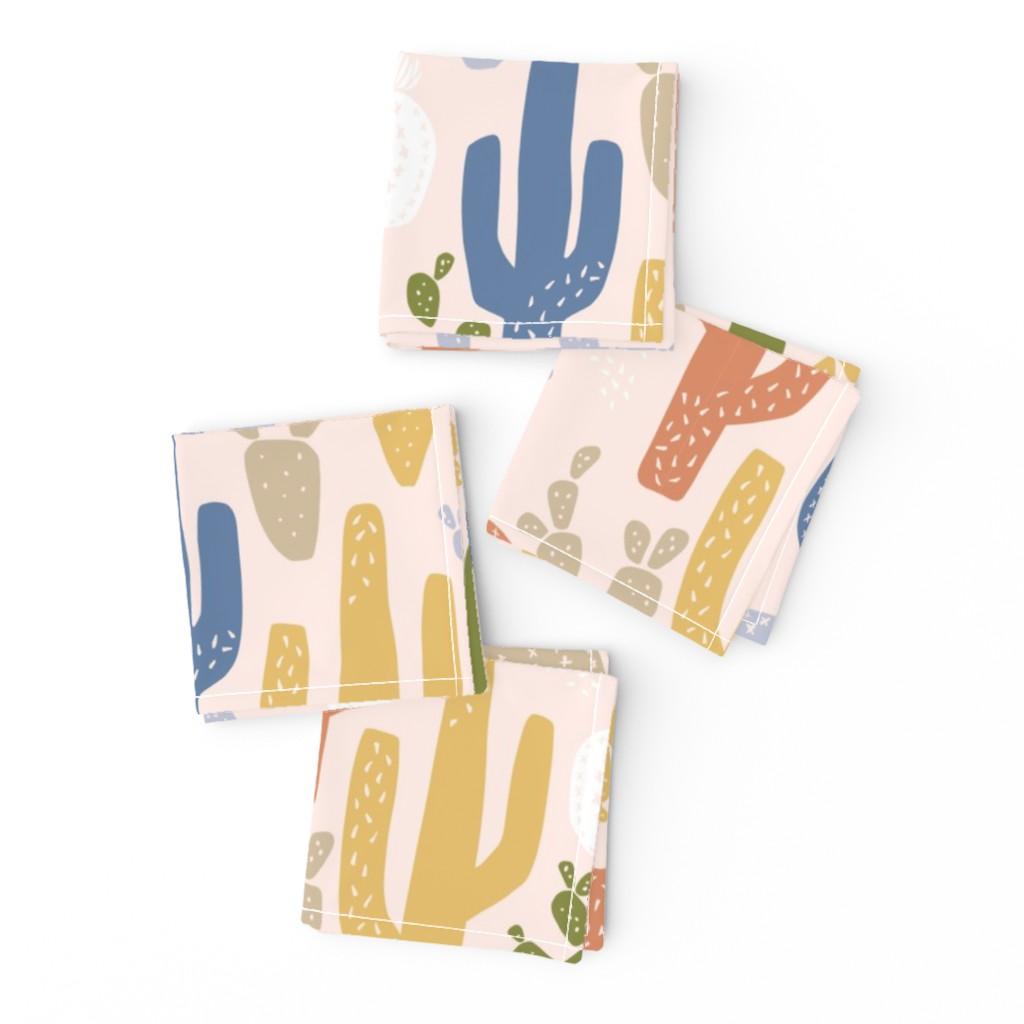 Frizzle Cocktail Napkins featuring Cacti Clusters in Earth Tones by frostdesignco