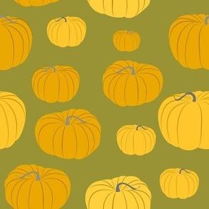 Autumn Pumpkins on Green