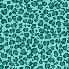 Leopard Print in Ocean Lagoon Blue | Small Scale  Animal Print