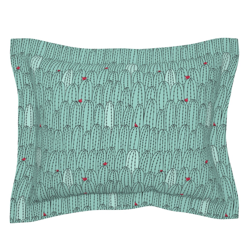 Sebright Pillow Sham featuring Cacti doodle-color by doodlena