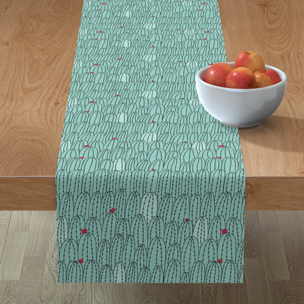 Minorca Table Runner featuring Cacti doodle-color by doodlena