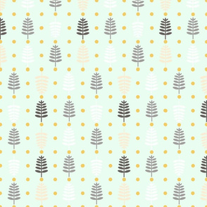Vintage  Christmas Trees and Yellow  Dots  on  Mint