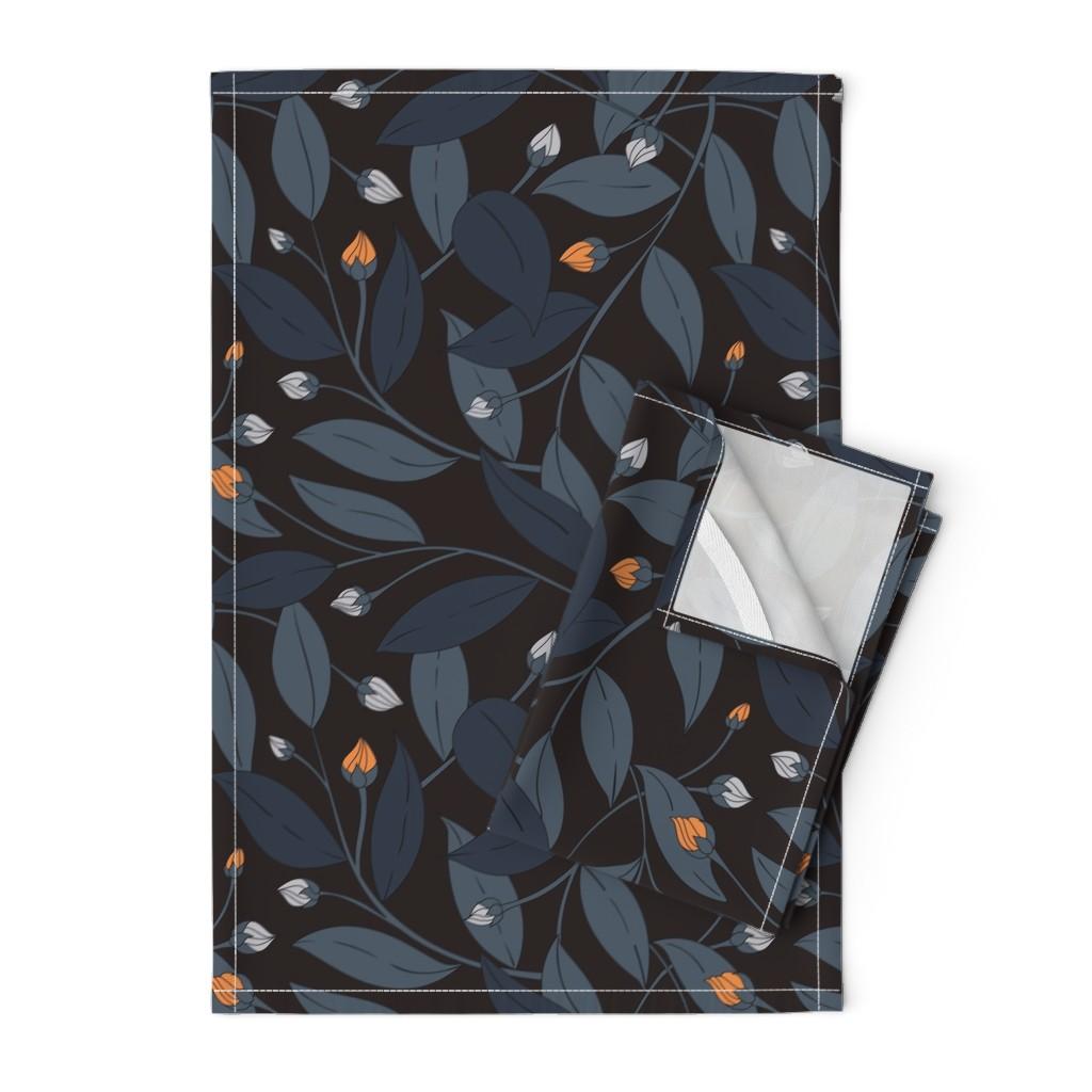Orpington Tea Towels featuring Bloom in dark by doodlena