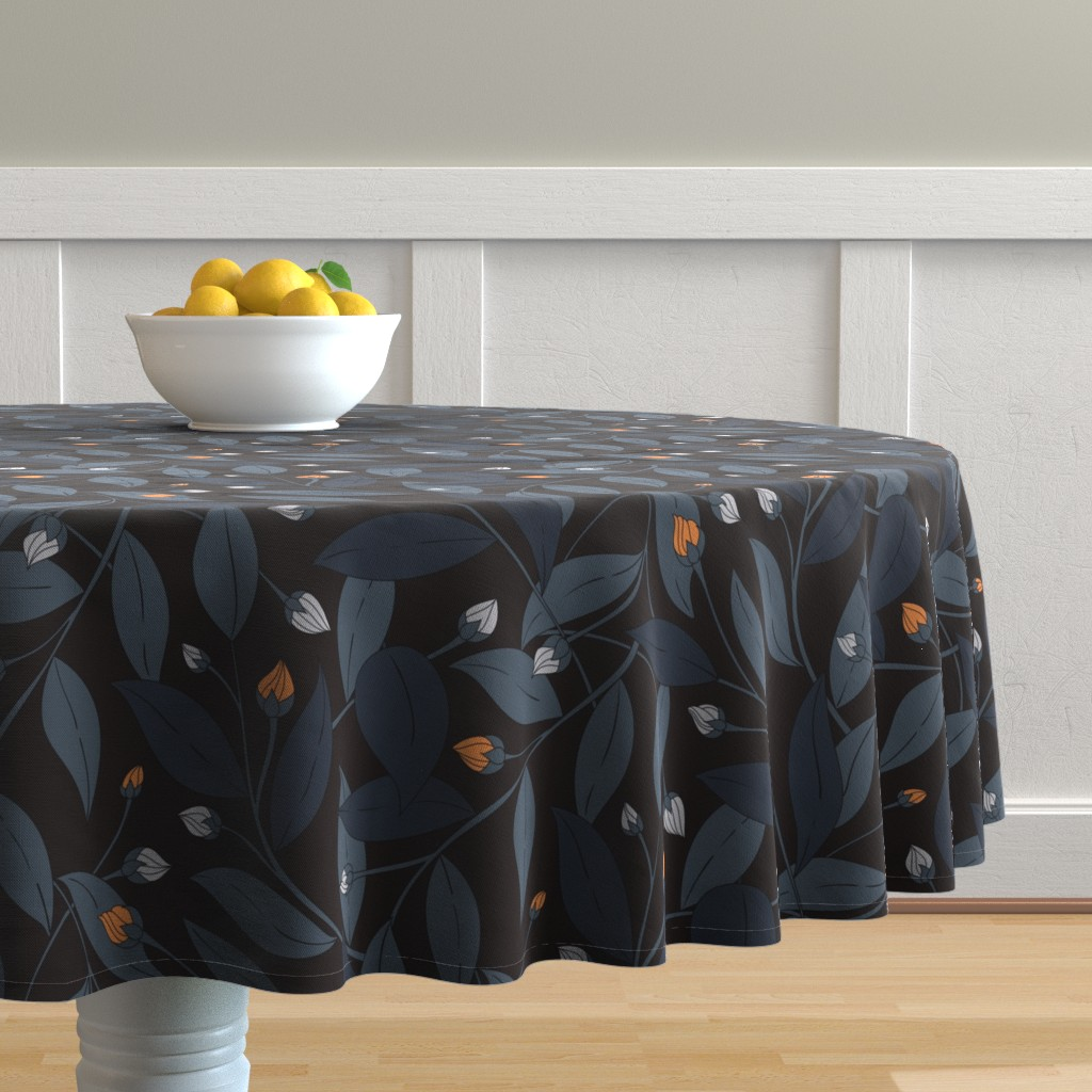 Malay Round Tablecloth featuring Bloom in dark by doodlena