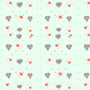 Polka Hearts on Mint