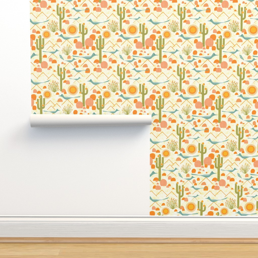 Isobar Durable Wallpaper featuring Southwest Roadrunners and Ocotillo by vo_aka_virginiao