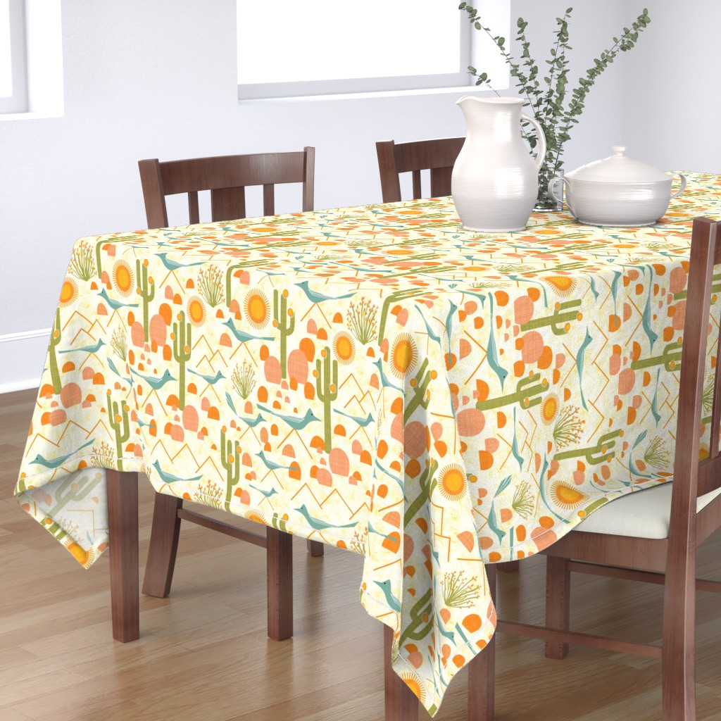 Bantam Rectangular Tablecloth featuring Southwest Roadrunners and Ocotillo by vo_aka_virginiao