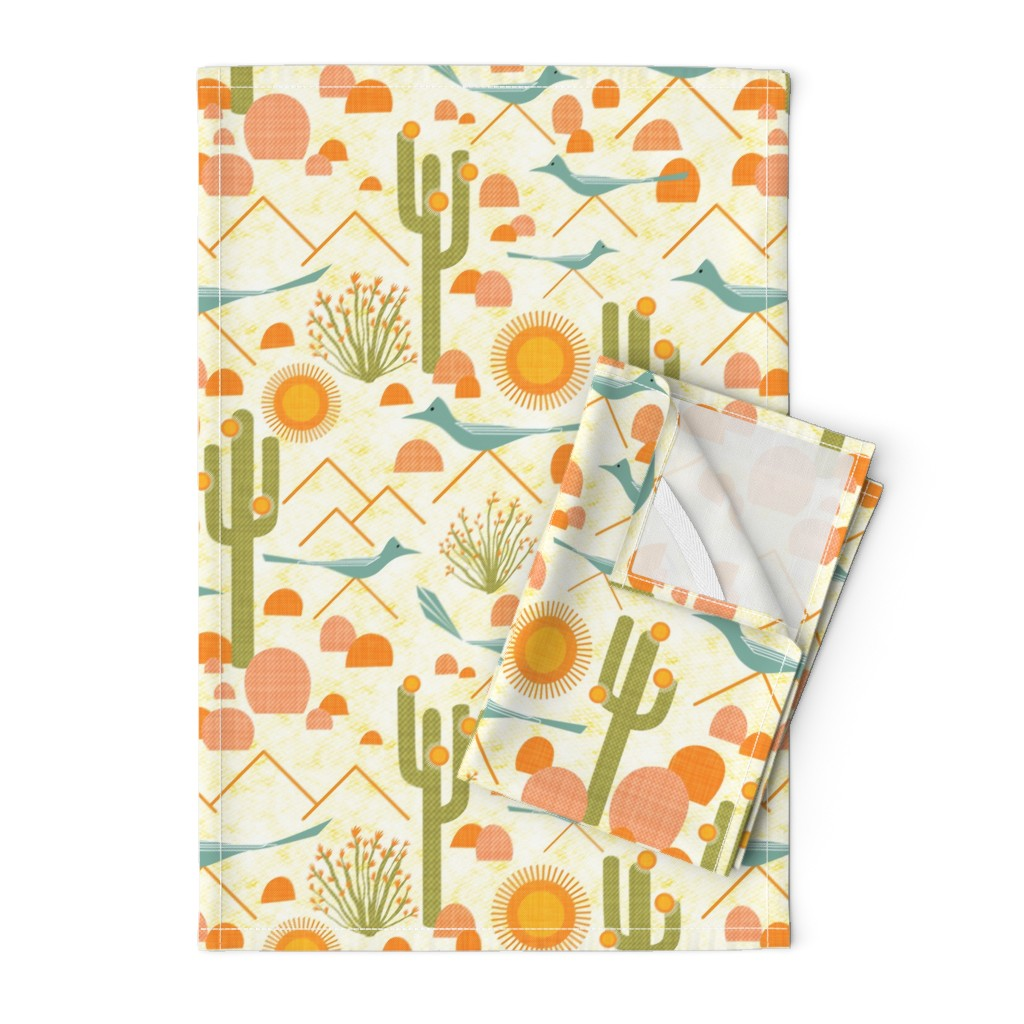 Orpington Tea Towels featuring Southwest Roadrunners and Ocotillo by vo_aka_virginiao