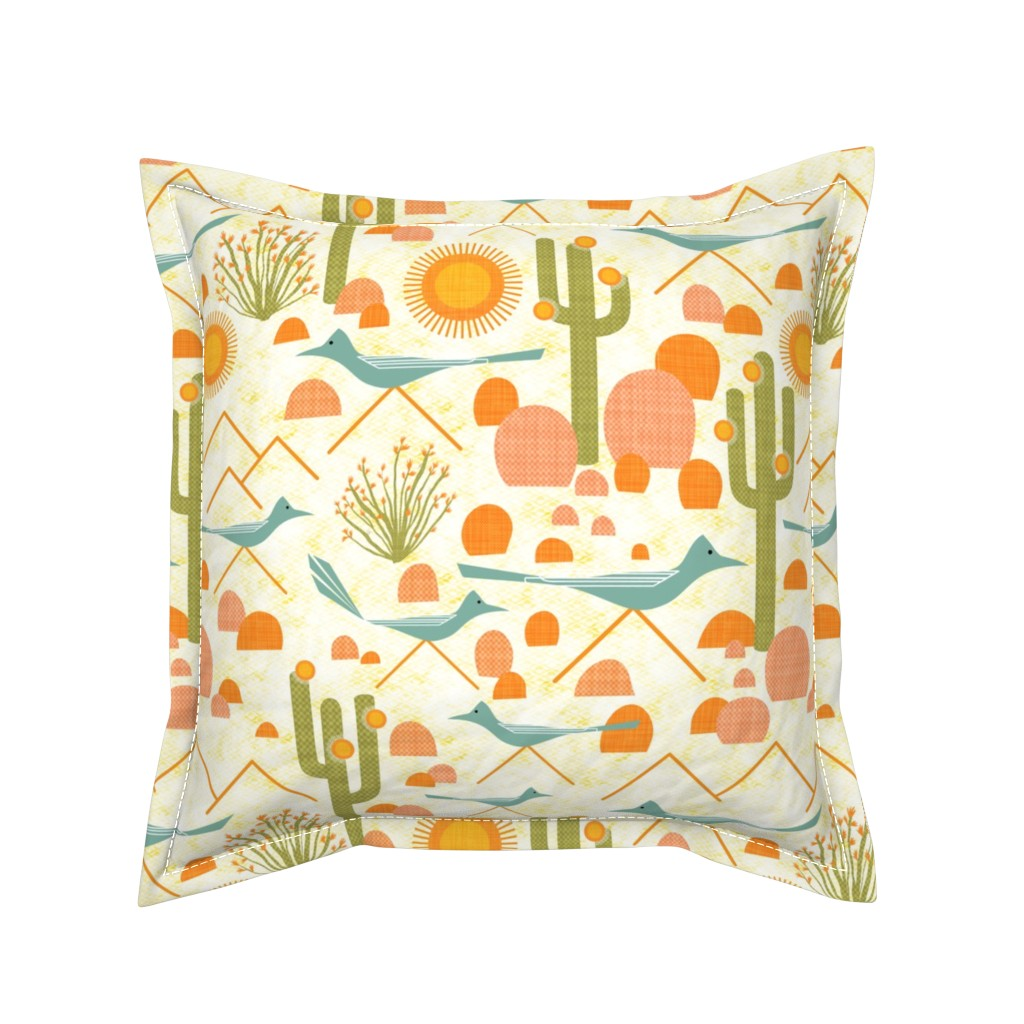 Serama Throw Pillow featuring Southwest Roadrunners and Ocotillo by vo_aka_virginiao